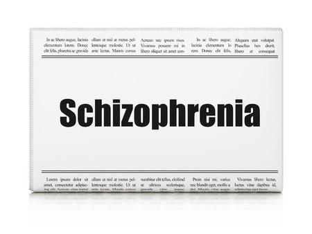 schizophrenia: Concepto de la salud: La esquizofrenia titular de periódico sobre fondo blanco, 3D Foto de archivo