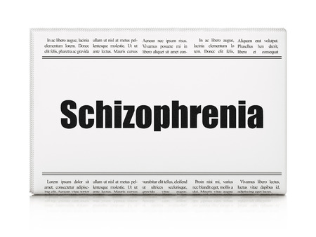 esquizofrenia: Health concept: newspaper headline Schizophrenia on White background, 3D rendering
