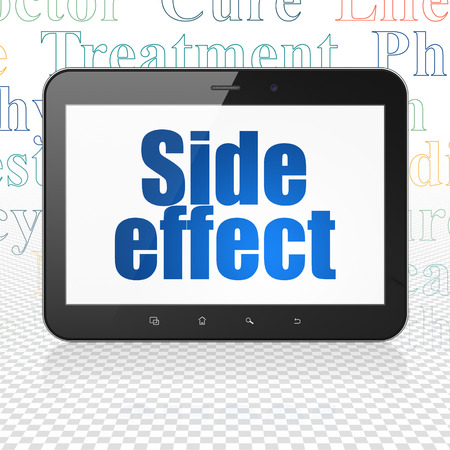 side effect: Health concept: Tablet Computer with  blue text Side Effect on display,  Tag Cloud background, 3D rendering