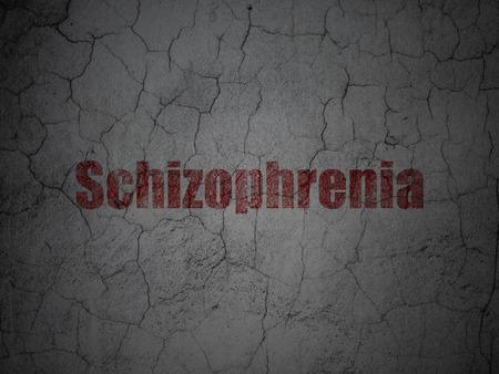schizophrenia: El concepto de salud: Rojo esquizofrenia en grunge textura de fondo muro de hormigón