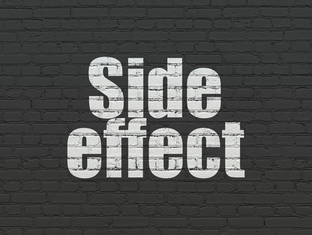side effect: Health concept: Painted white text Side Effect on Black Brick wall background Stock Photo
