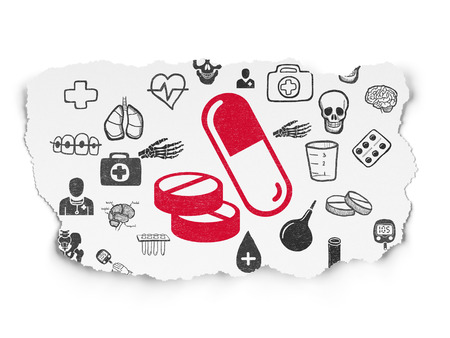 Healthcare concept: Painted red Pills icon on Torn Paper background with  Hand Drawn Medicine Icons
