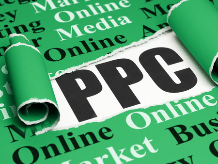 Marketing concept: black text PPC under the curled piece of Green torn paper with  Tag Cloud, 3D rendering Stock Photo - 61473016