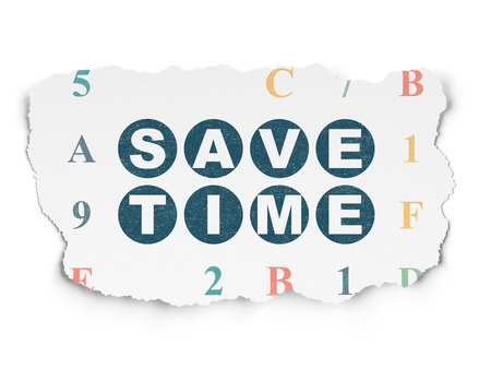 save time: Time concept: Painted blue text Save Time on Torn Paper background with  Hexadecimal Code