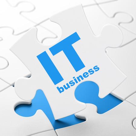 concetto di Finanza: IT Business su bianco pezzi del puzzle sfondo, il rendering 3D