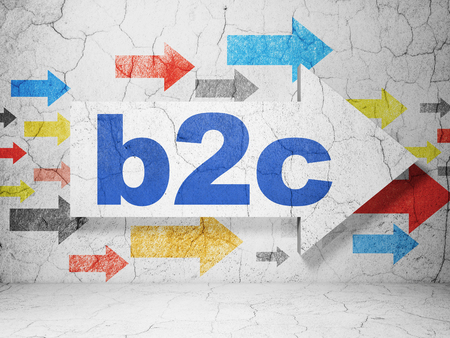 b2c: Business concept:  arrow with B2c on grunge textured concrete wall background, 3D rendering Stock Photo