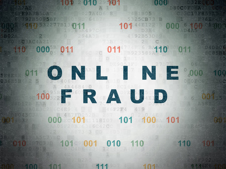 online safety: Safety concept: Painted blue text Online Fraud on Digital Data Paper background with Binary Code Stock Photo