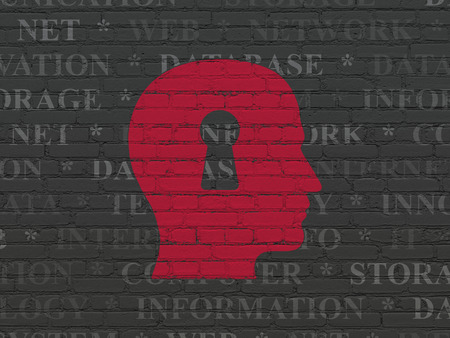 head tag: Information concept: Painted red Head With Keyhole icon on Black Brick wall background with  Tag Cloud