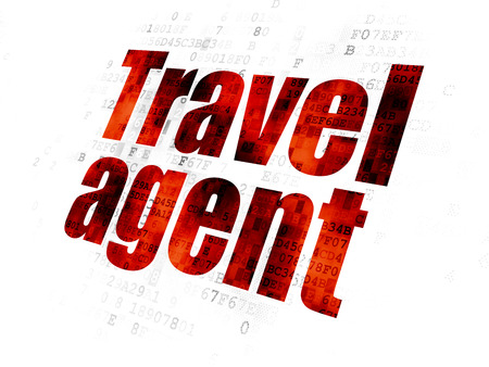 travel agent: Tourism concept: Pixelated red text Travel Agent on Digital background