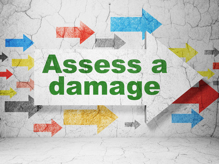 assess: Insurance concept:  arrow with Assess A Damage on grunge textured concrete wall background, 3D rendering Stock Photo