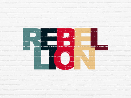 rebellion: Politics concept: Painted multicolor text Rebellion on White Brick wall background