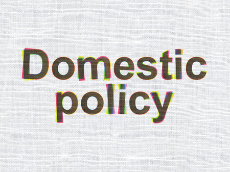 domestic policy: Political concept: CMYK Domestic Policy on linen fabric texture background Stock Photo