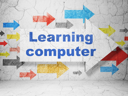 computer education: Education concept:  arrow with Learning Computer on grunge textured concrete wall background, 3D rendering