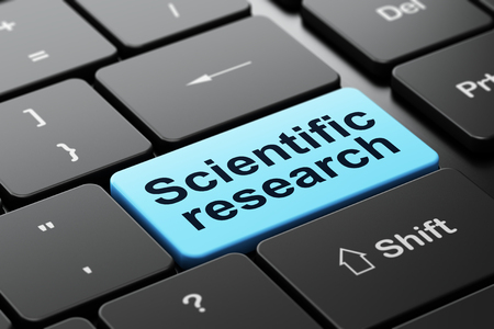 science scientific: Science concept: computer keyboard with word Scientific Research, selected focus on enter button background, 3D rendering Stock Photo