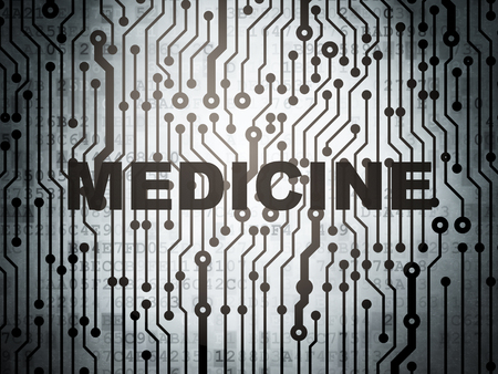 word medicine: Health concept: circuit board with  word Medicine, 3D rendering Stock Photo