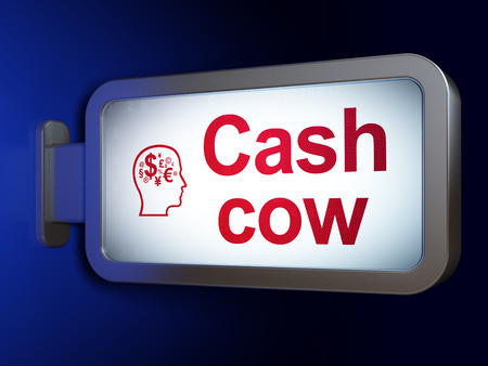 cash cow: Finance concept: Cash Cow and Head With Finance Symbol on advertising billboard background, 3D rendering