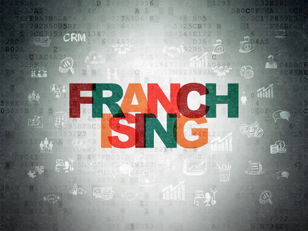 franchising: Business concept: Painted multicolor text Franchising on Digital Data Paper background with  Hand Drawn Business Icons