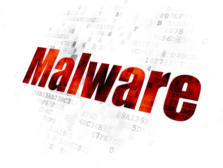 Safety concept: Pixelated red text Malware on Digital background