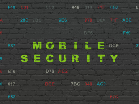 hexadecimal: Protection concept: Painted green text Mobile Security on Black Brick wall background with Hexadecimal Code