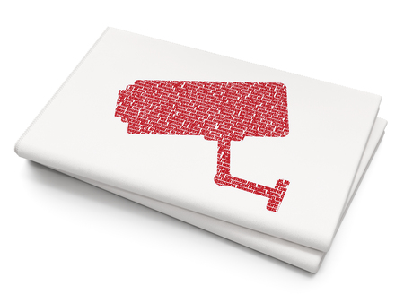 monitored: Safety concept: Pixelated red Cctv Camera icon on Blank Newspaper background, 3D rendering Stock Photo
