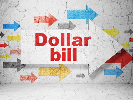 way bill: Currency concept:  arrow with Dollar Bill on grunge textured concrete wall background, 3D rendering Stock Photo
