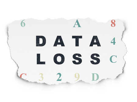data loss: Information concept: Painted black text Data Loss on Torn Paper background with  Hexadecimal Code