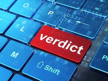 verdict: Law concept: computer keyboard with word Verdict on enter button background, 3D rendering Stock Photo