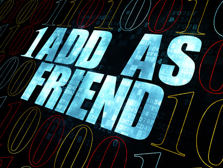 add as friend: Social media concept: Pixelated blue text Add as Friend on Digital wall background with Binary Code