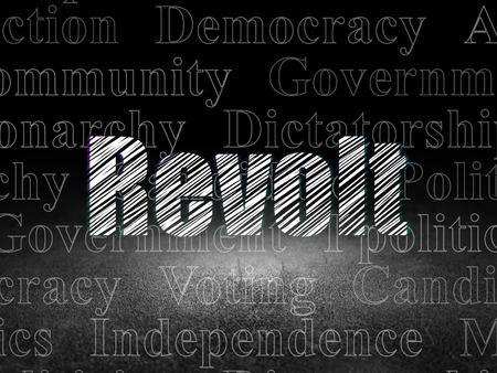 revolt: Political concept: Glowing text Revolt in grunge dark room with Dirty Floor, black background with  Tag Cloud