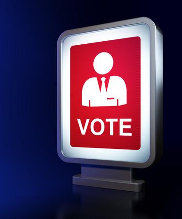 agitation: Politics concept: Ballot on advertising billboard background, 3D rendering