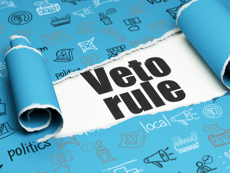 veto: Politics concept: black text Veto Rule under the curled piece of Blue torn paper with  Hand Drawn Politics Icons, 3D rendering Stock Photo