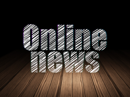 news room: News concept: Glowing text Online News in grunge dark room with Wooden Floor, black background Stock Photo