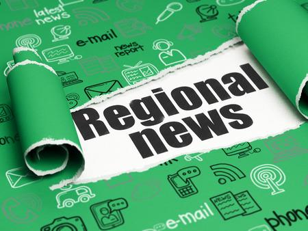 Concepto de las noticias: texto negro Noticias Regionales debajo de la pieza de papel rasgado rizado verde con iconos Noticias dibujado a mano, 3D Foto de archivo