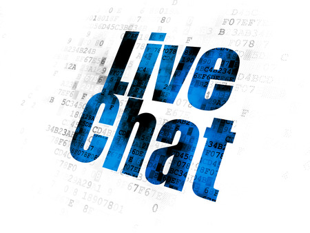 Web development concept: Pixelated blue text Live Chat on Digital background