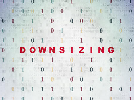 downsizing: Business concept: Painted red text Downsizing on Digital Data Paper background with Binary Code