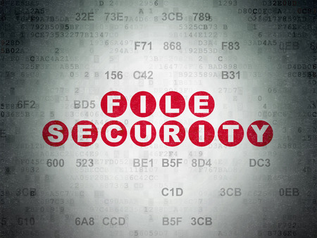 privat: Privacy concept: Painted red text File Security on Digital Data Paper background with Hexadecimal Code Stock Photo