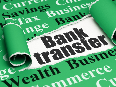 bank transfer: Money concept: black text Bank Transfer under the curled piece of Green torn paper with  Tag Cloud, 3D rendering