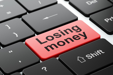 losing money: Currency concept: computer keyboard with word Losing Money, selected focus on enter button background, 3D rendering