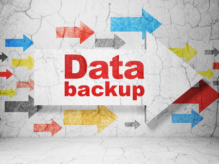 data backup: Data concept:  arrow with Data Backup on grunge textured concrete wall background, 3D rendering