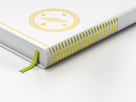 closed book: Tourism concept: closed book with Gold Compass icon on floor, white background, 3D rendering Stock Photo