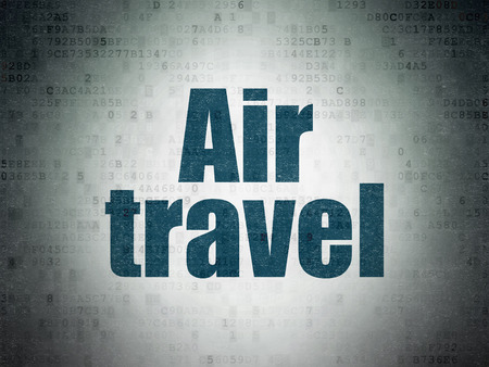 air travel: Travel concept: Painted blue word Air Travel on Digital Data Paper background