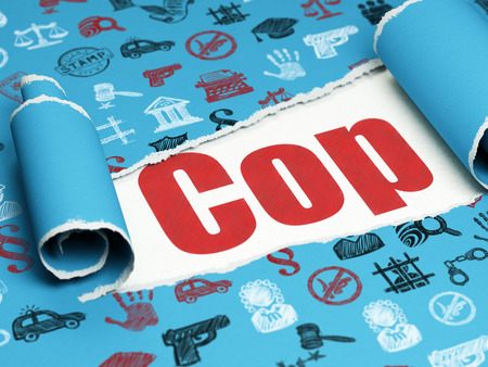 Law concept: red text Cop under the curled piece of Blue torn paper with  Hand Drawn Law Icons, 3D rendering