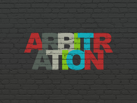 arbitration: Law concept: Painted multicolor text Arbitration on Black Brick wall background