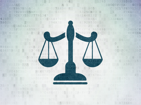 Law concept: Painted blue Scales icon on Digital Data Paper background Stock Photo