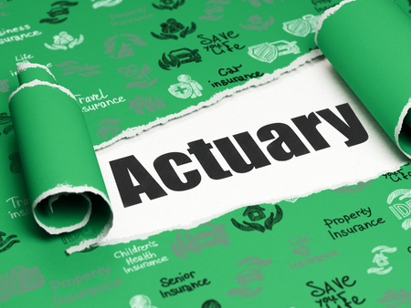 actuary: Insurance concept: black text Actuary under the curled piece of Green torn paper with  Hand Drawn Insurance Icons, 3D rendering