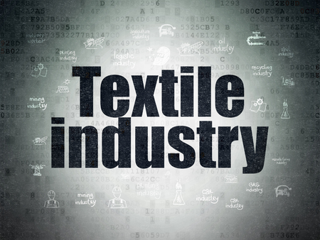 industry: Industry concept: Painted black text Textile Industry on Digital Data Paper background with  Hand Drawn Industry Icons