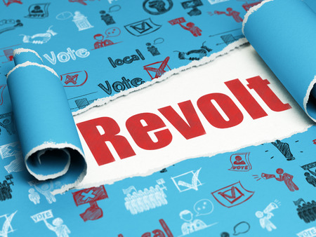 revolt: Political concept: red text Revolt under the curled piece of Blue torn paper with  Hand Drawn Politics Icons, 3D rendering