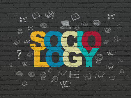 sociology: El estudio de concepto: Pintado Sociología texto multicolor sobre fondo de pared de ladrillo con Negro Iconos de la educación dibujado a mano