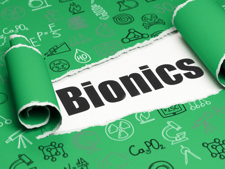 bionics: Science concept: black text Bionics under the curled piece of Green torn paper with  Hand Drawn Science Icons, 3D rendering Stock Photo