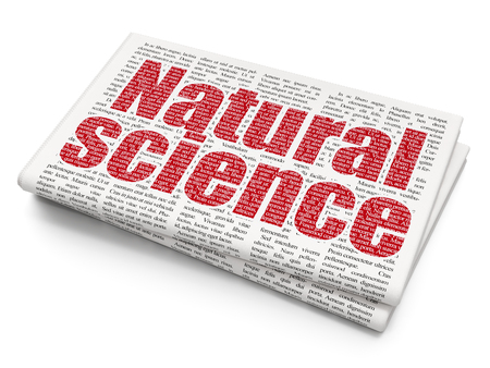 natural science: Science concept: Pixelated red text Natural Science on Newspaper background, 3D rendering Stock Photo